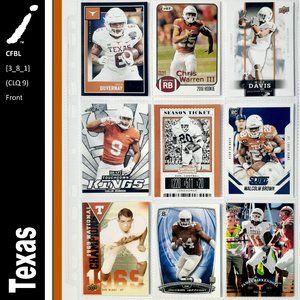 Texas Longhorns 9 Card Lot - CFBL [3_8_1]